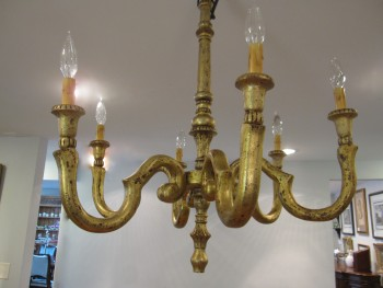 Antique Gold Leaf Wood Chandelier, 6 Arm