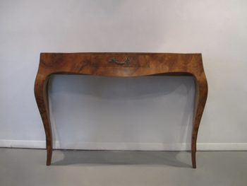 Italian Walnut Oyster Burl Bombe Console Table