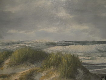 M. Charles, Seascape Oil Painting, Outer Banks, Donald Leary