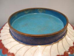 Vintage cloisonné Bowl, Turquoise, Butterflies, Butterfly