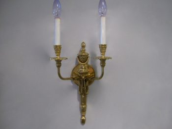 French Belle Epoque Style Brass Sconces, Pair, Louis XVI Style