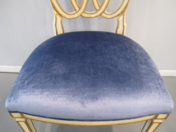 Pair of Modern History Accent Chairs, Milan Occasional Chair, Sapphire Blue Velvet