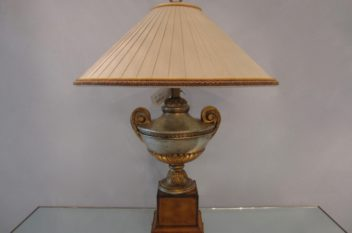 Maitland Smith Lamp, Tooled Leather, Silk Pleated Shade