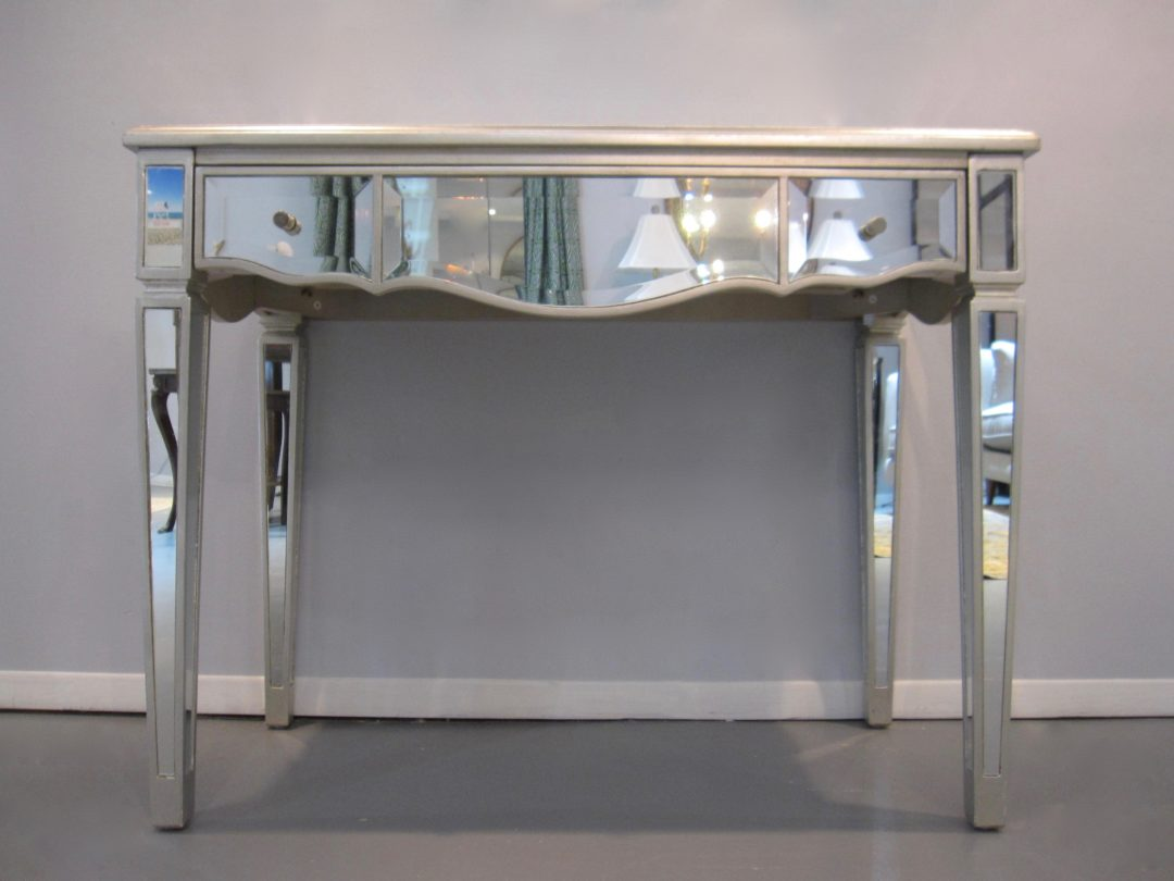 Mirrored desk console table side table eisenhower consignment mirrored console desk table geotapseo Choice Image