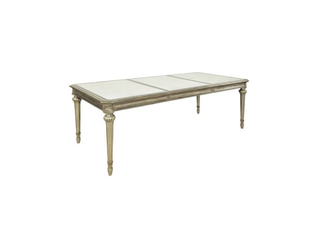 Silver leaf finish dining table eisenhower consignment - Silver dining tables ...