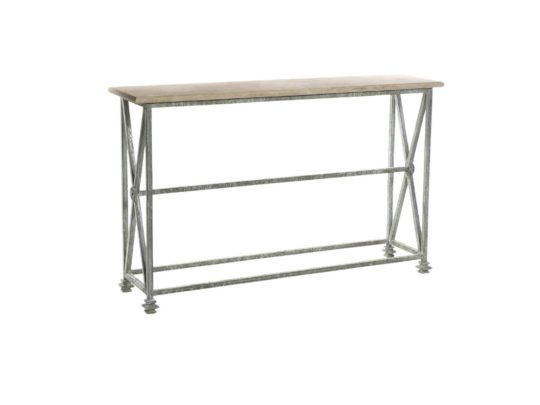 stone top console, iron base