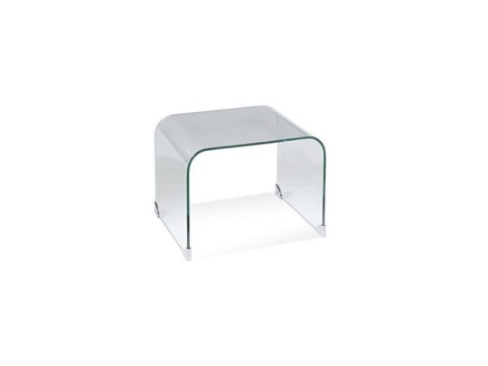 bent glass side table