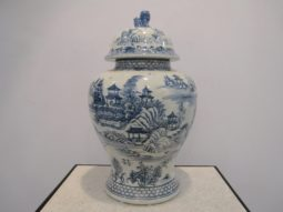 Blue White Ginger Jar, Handprinted, Lidded