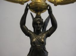 Pair of Candelabras, Bronze Patinated Winged Figural,