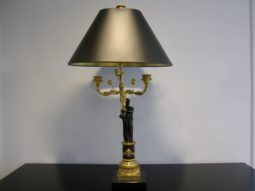 Pair of Candelabra Lamps, Bronze Patinated Winged Figural