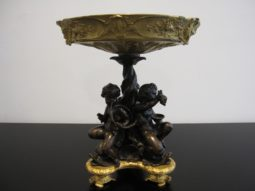 Antique Tazza, Footed Bowl, Patinated & Gilded Bronze