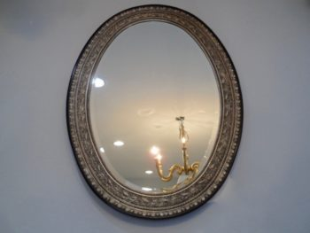 Oval Mirror, Antique Silver, Carved Wood