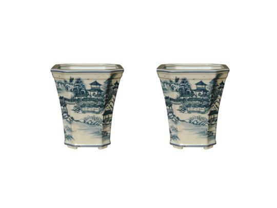 blue white chinoiserie cachepots